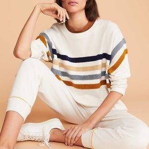NWT Lou & Grey Fuzzstripe Terry Cotton Sweatshirt
